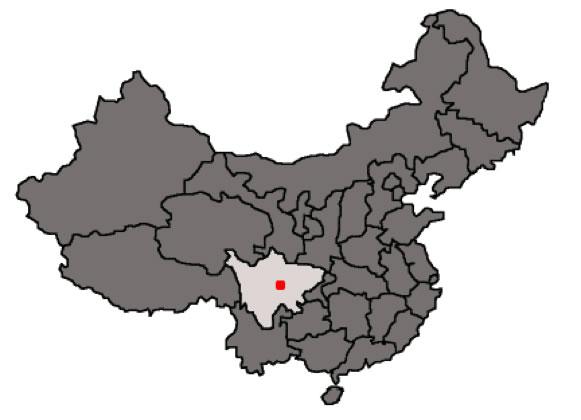 Sichian y Chengdu marcados en el mapa. Fuente: http://evelyne.bouquet.free.fr/WebAlain/particules/images/Chengdu_carte.jpg
