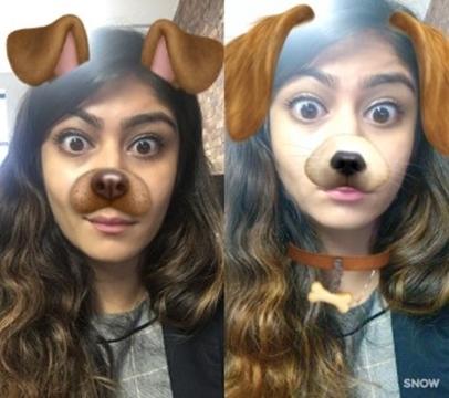 Filtros de orejas de perro en Snapchat y Snow. Fuente: http://digiday.com/brands/snapchat-snow-app-asia/