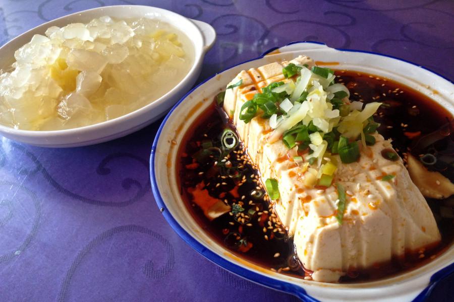 comida china tradicional tofu frío piña aloe vera