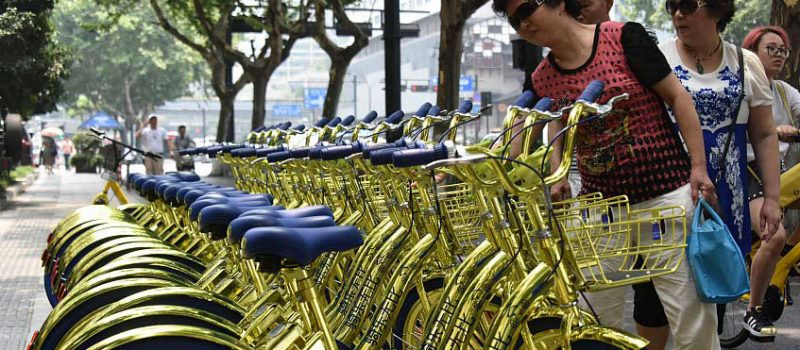 bicicletas compartidas doradas china